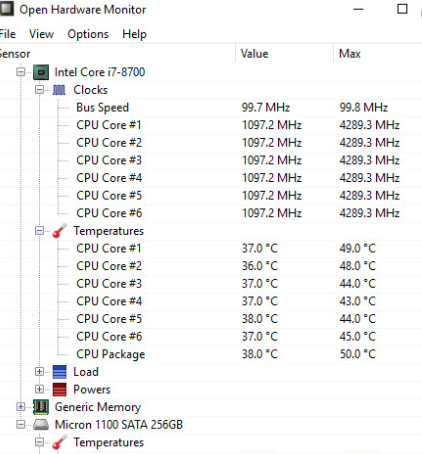 Open Hardware Monitor - 10 Best CPU Temperature Monitor Tools for Windows