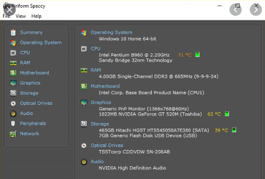 Speccy - 10 Best CPU Temperature Monitor Tools for Windows