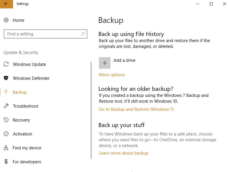 Manage Windows 10 Backup Settings